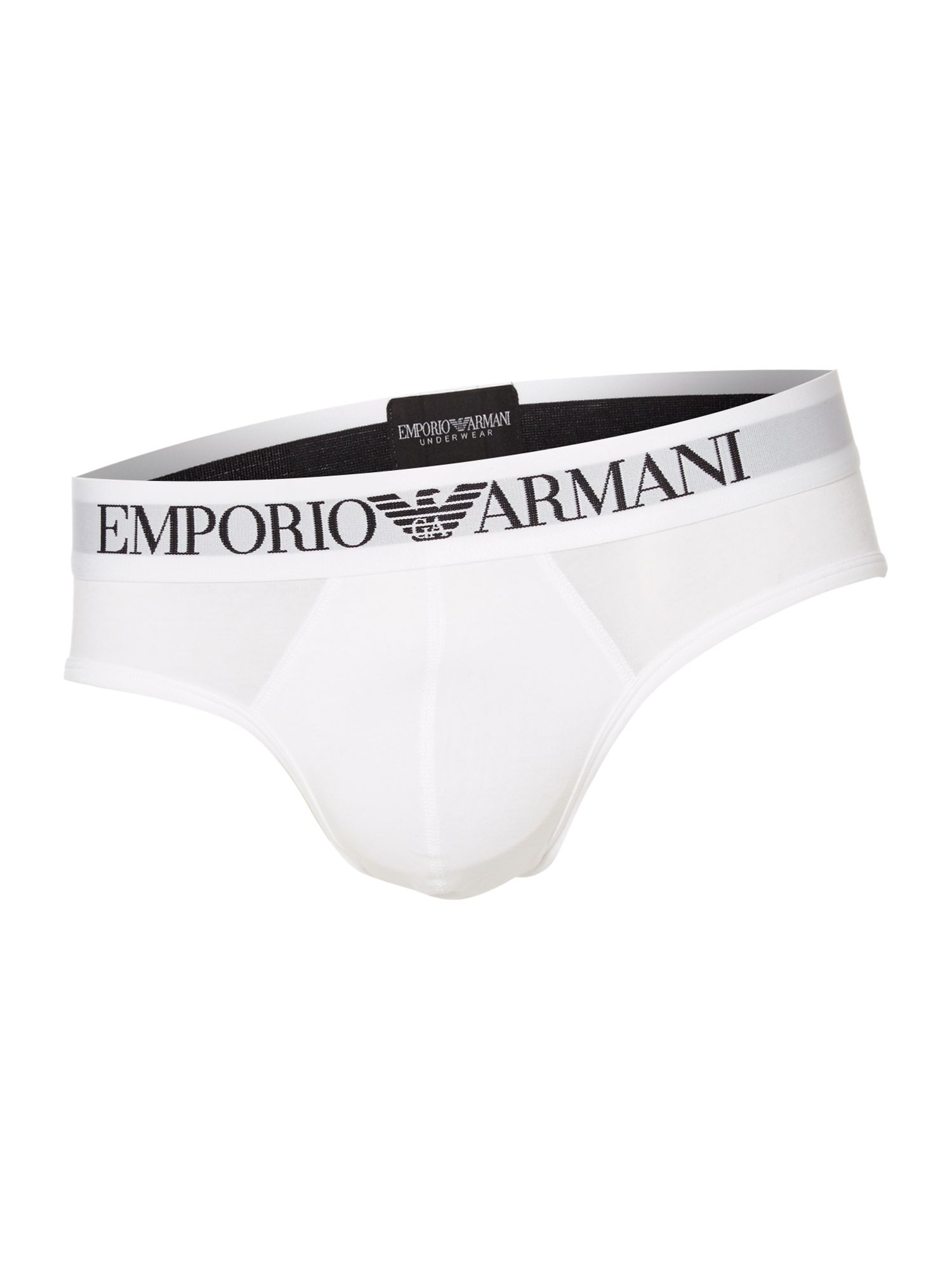 Mens Emporio Armani Large logo briefs White