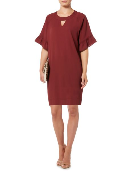 Biba Frill sleeve keyhole dress