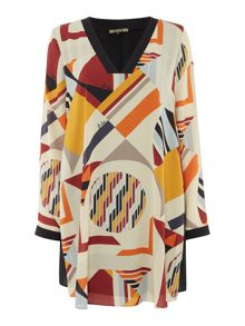 Biba Printed overlay v neck shift dress