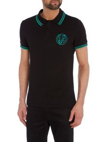 Versace Jeans Slim fit embroidered logo tipped polo shirt