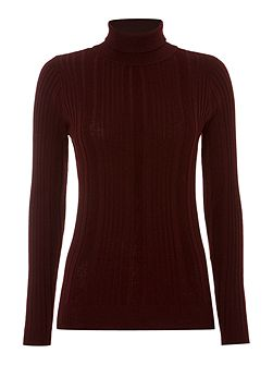 Rib detail roll neck jumper