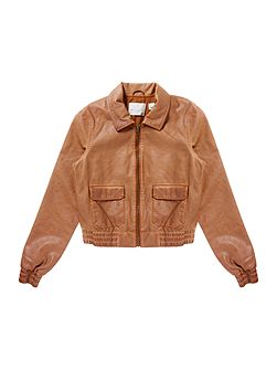 Girls Faux leather bomber jacket