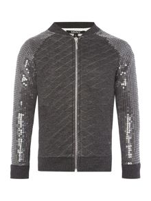 DKNY Girls Quilted teddy jacket