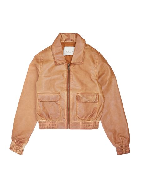 Une Fille Girls Faux leather bomber jacket