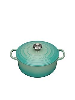 Signature Cast Iron Round Casserole 20cm CoolMint