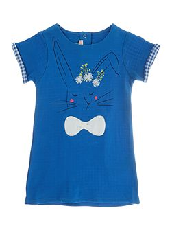 Baby girls Blue Dress with Bunny Print