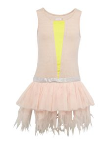 Girls Peach Jersey and Tulle Dress