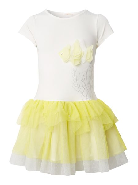 Billieblush Girls Jersey Dress with tulle skirt