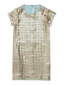 Girls Dress with Gold Sequin Overlay