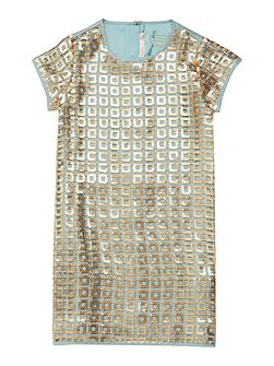 Billieblush Girls Dress with Gold Sequin Overlay