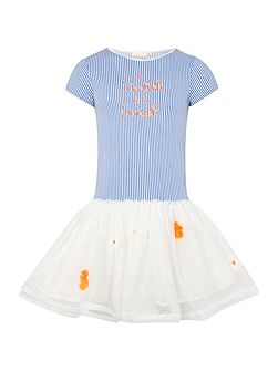 Girls Striped dress with Tulle Skirt