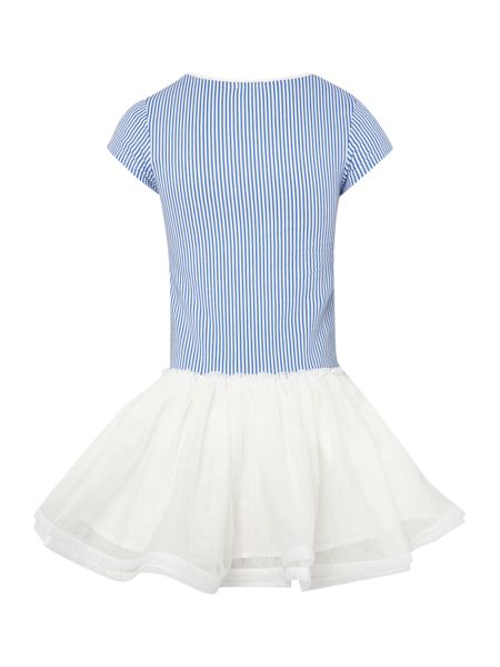 Billieblush Girls Striped dress with Tulle Skirt