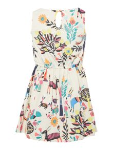 Billieblush Girls Printed Sleeveless Crepe Dress