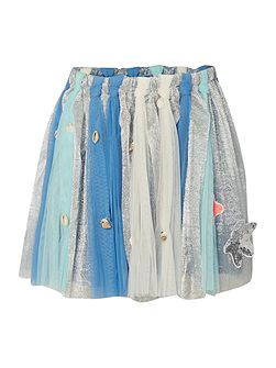 Girls Blue Embellished Tulle Skirt