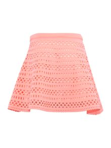 Girls Pink Laser Cut Neoprene Skirt