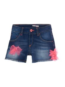Billieblush Girls Denim Shorts with Tulle Details