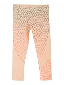 Girls Leggings with Mermaid Tail Print