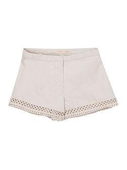 Girls Faux-Leather Laser Cut Shorts