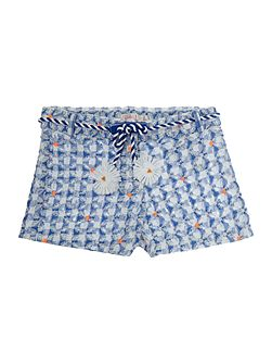 Girls Blue Embroidered Shorts
