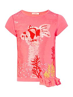 Girls Pink Sequin Fish T-Shirt