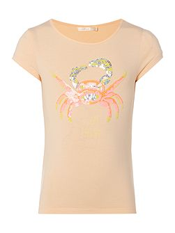 Billieblush Girls T-Shirt with Sequin Crab