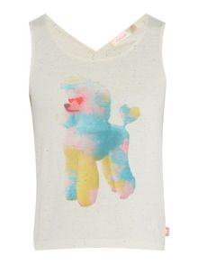 Billieblush Girls Vest Top with Tie-Dye Dog Print