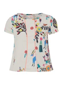 Billieblush Girls Printed Crepe Blouse