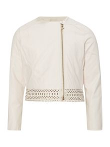Billieblush Girls Faux-Leather Laser Cut Jacket
