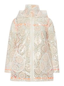 Girls Raincoat with Floral Motif