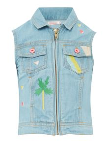 Billieblush Girls Bleached Denim Embroidered Vest