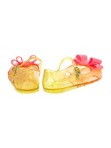 Billieblush Girls yellow jelly shoes with pink bow