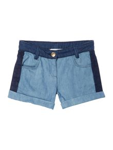 Little Marc Jacobs Girls Denim shorts with darker yoke