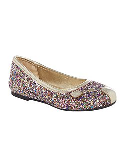 Girls Glittered mouse ballerina shoes