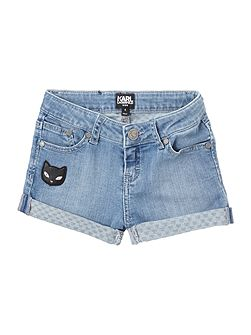 Girls Denim shorts with darker yoke