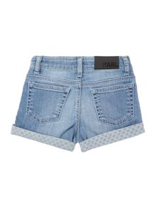 Karl Lagerfeld Girls Denim shorts with darker yoke