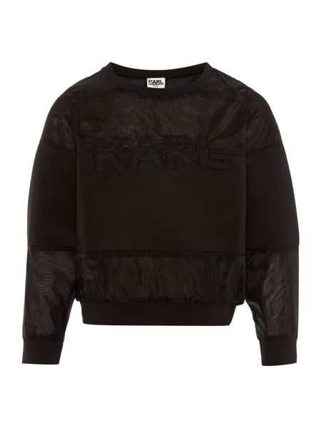 Karl Lagerfeld Girls Neoprene and organza sweater