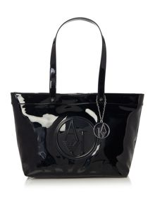 Armani Jeans Black large patent tote bag