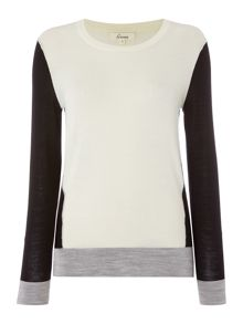 Linea Merino colour block panel jumper