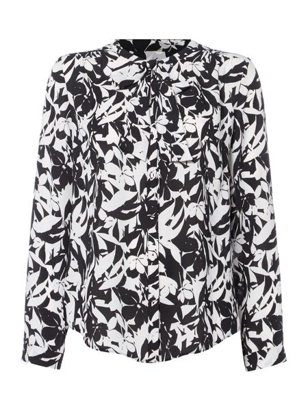 Linea Floral print pussy bow blouse