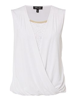 Jersey wrap lace top