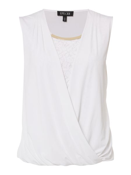 Episode Jersey wrap lace top