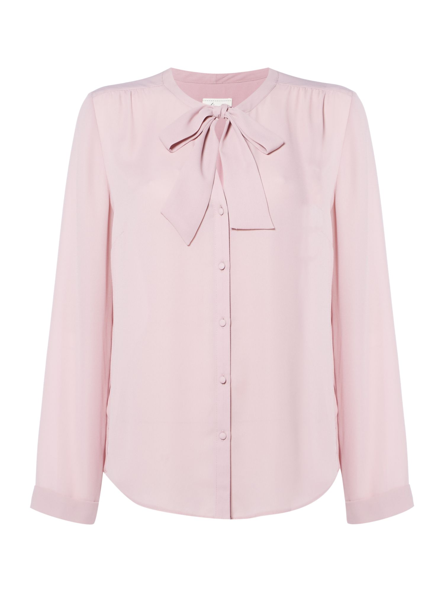 1920sStyleBlouses Linea Pussy bow blouse Pink £39.00 AT vintagedancer.com