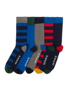 Howick 5 Pack Striped Socks