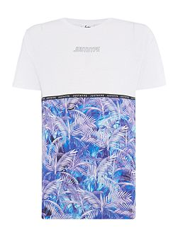 Regular fit palm print panel crew neck t