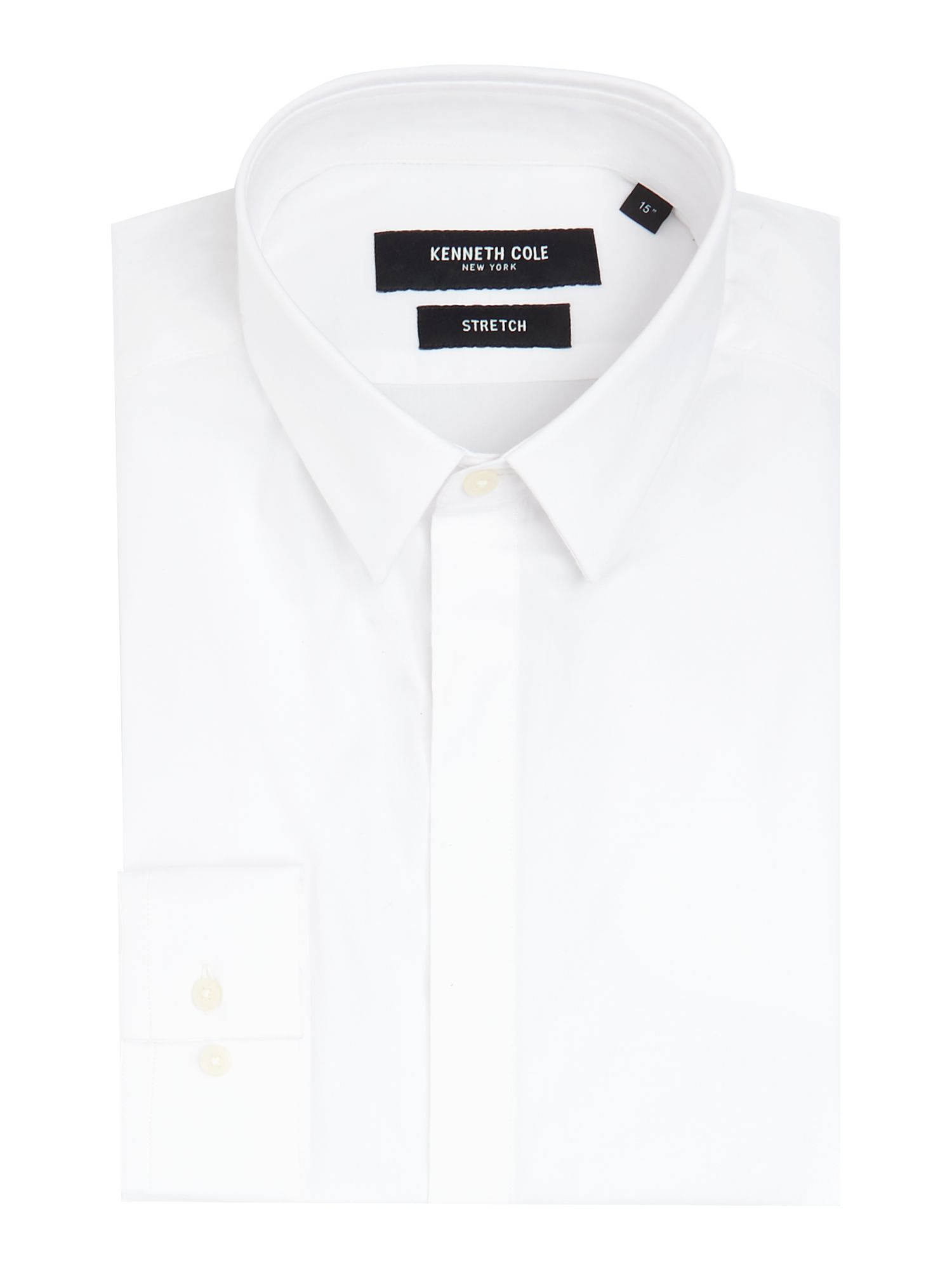 Mens Kenneth Cole Ethan stretch shirt with conealed placket White
