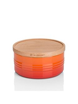 Large Storage Jar with Wood Lid Volcanic