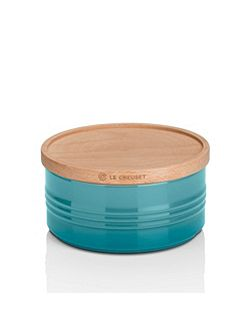 Large Storage Jar with Wood Lid Marseille Teal