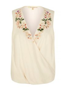 Uttam Boutique Embroidered Wrap Top