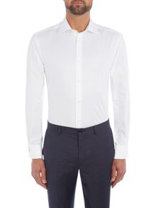 Howick Tailored New Lewis Herringbone Cutaway Double Cuff Shirt