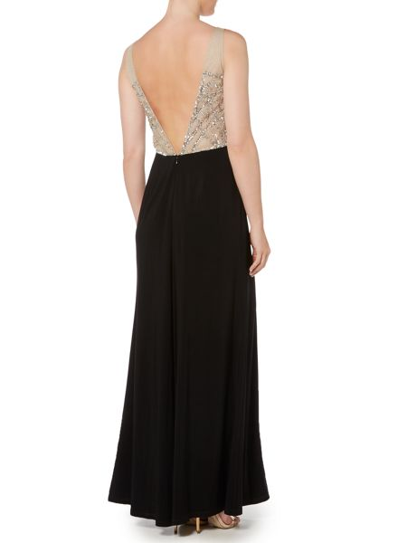 Adrianna Papell V neck beaded bodice gown with jersey skirt